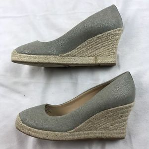 J. Crew Shoes - J. CREW Seville Espadrille Wedges Metallic Silver